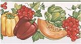 """Norwall Prepasted Wallpaper Border - Peperoni Mellon Asparagi cavolo rosso bacche smerlato muro di confine della cucina Retro Design,Roll 15 ft x 7. 6,75"""" da 5 yards"""