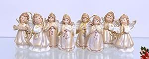 Décoration à suspendre ange de Noël Coffret 8figurines Porcelaine Hauteur jusqu'à 9,1cm