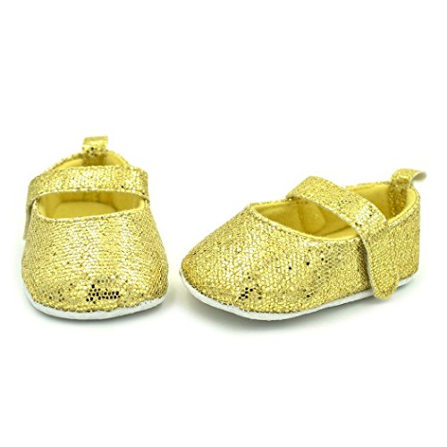 Rawdah Chaussures Newborn Toddler Shoes Soft Sequins Chaussures Antidérapantes (3-6 Mois, Rose) Jaune