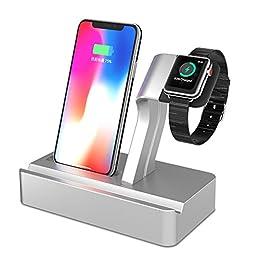 X-DODD 2 en 1 Apple Watch Stand con iPhone Cargador Dock Station Holder Display Cradle Soporte de reloj Apple para iPhone 7/7 Plus / 6S / 6S Más 6/6 Plus / 5S / 5 / SE iWatch 42mm y 38mm Todos los modelos (type 1)