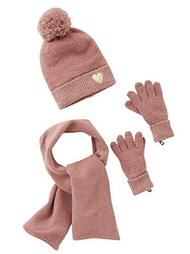 Vertbaudet Mütze, Schal und Handschuhe für Mädchen rosa meliert 128/140
