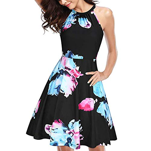 LILIHOT Frauen drucken ärmelloses O-Neck Casual Zipper Minikleid Sommerkleid Damen Blumen Kleid Ärmellos Kleider Lange Dress Party Club Strandkleid Elegan Sommerkleid - Open Cup-regal