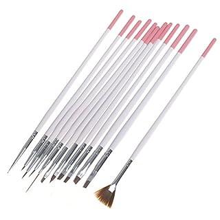 12 Pinsel Stift Bürste Pinsel für Nagel Acryl Gel Zeichnung Malerei Punktierung