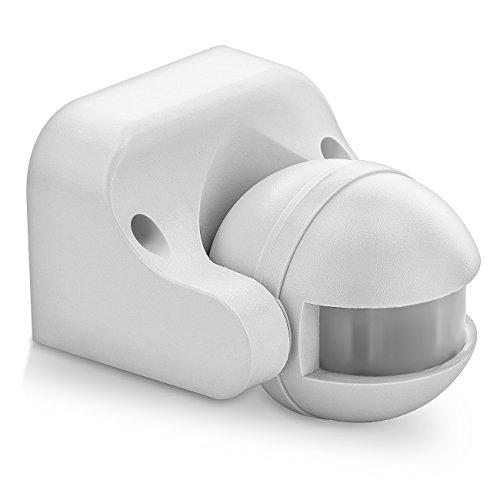 deleyCON Infrarot Bewegungsmelder für Innen- und Außenbereich mit 180° Arbeitsfeld Reichweite bis 12m - einstellbarer Erfassungsbereich - Weiß