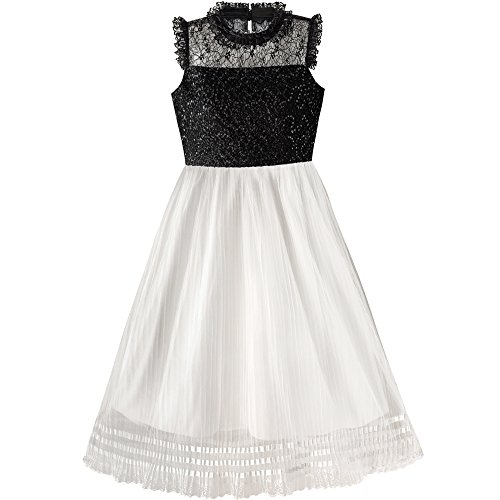 Sunny Fashion Girls Dress White and Black Pleated Skirt Lace Sequin Age 6-14 Years