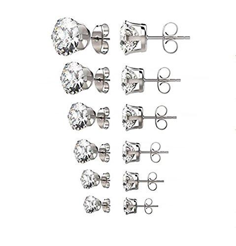 Findout vergoldet Titan Stahl Elegant Classic Runde 3 4 5 6 7 8mm 6 Paar Zirkonia rosa Kristall Ohrstecker Geschenk für Frauen Mädchen Kind (f1820) (White Gold Plated 6 Pairs Set)