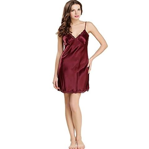 ForeverSilk Women's 100% Pure Silk Gorgeous Sleepwear Dress Nightgown Burgundy M