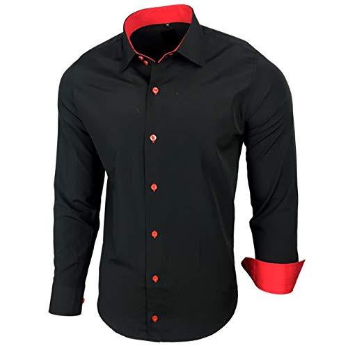 Kontrast Business Anzug Freizeit Polo Slim Fit Figurbetont Hemd Langarmhemd R-44, Farbe:Schwarz / Rot;Größe:2XL