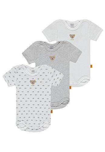 Steiff Baby-Jungen Body Set 3tlg. Bodys 1/4 Arm, Grau (Softgrey Melange 8200), 74