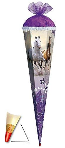 Preisvergleich Produktbild Schultüte - Wildpferde - 85 cm - mit Holzspitze / Tüllabschluß mit Glitzerborte - Zuckertüte Roth - Pferde Blumen Pferd Schimmel Araber Hengst