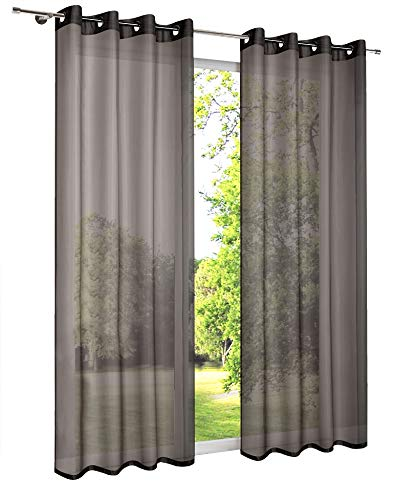 "Par de cortinas de gasa lisas tipo panel, con ojales, listas para colgar, traslúcidas, 100% poliéster, negro, 2 x 140cm x 183cm (55"" x 72"")"