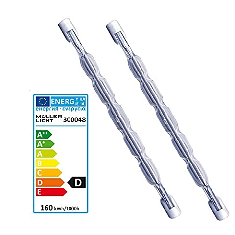R7S 160W Halogen Tube 117.6mm 3100LM 230V Halogen Bulb–Pack of 2