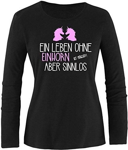 EZYshirt® Ein Leben ohne Einhorn ist möglich ! Aber sinnlos Damen Longsleeve Schwarz/Weiß/Rosa