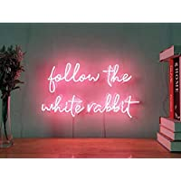 Follow The White Rabbit Custom Dimmable LED Neon Signs for Wall Decor (Customizable Options: Color, Size, Wall Mounted, Desktop,Window/Ceiling,Electrical/Battery Powered)