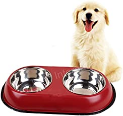 King International Stainless Steel Red 2 in 1 Stainless Steel Pet Bowl