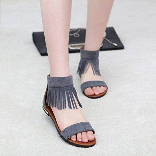 WOCACHI Damen Sommer Sandalen Frauenflache Mode Quaste verzierte Sandalen Komfortable Damen Schuhe Grau