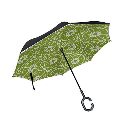 Bunte ethnische abstrakte Art Doppelschicht die Anti Uv Schutz winddichter Regen gerade Auto Golf umgekehrter umgekehrter Regenschirm Stand mit C förmigem Griff faltet - Barock Beutel