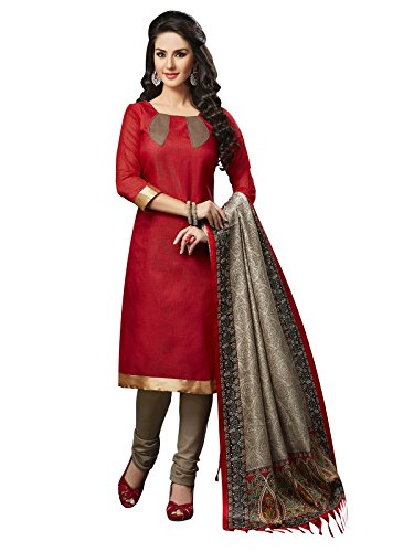 Applecreation Women's Silk Dress Material (3005__Red_Free Size)