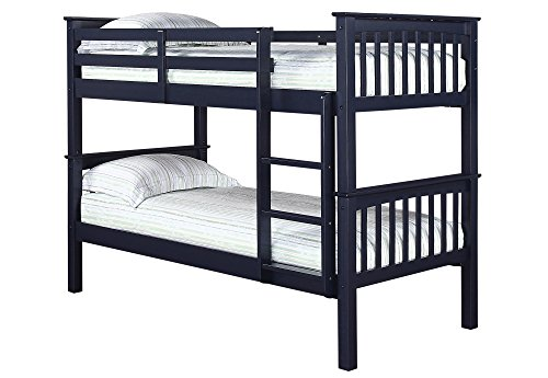 LPD Leo Solid Navy Blue Wooden Bunk Bed