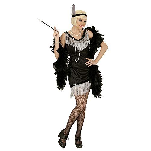 Widmann 03053 - Erwachsenenkostüm Charleston, Kleid, Handschuhe, Kopfband mit Feder, schwarz, Größe - Französisch Themen Tanz Kostüm