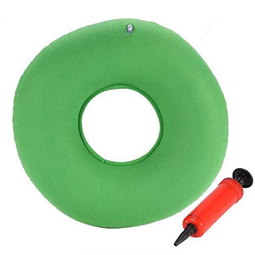 Delaman Orthopädisches Sitzkissen Ergonomisches Aufblasbares Sitzkissen Rund mit Pumpe für Hämorrhoiden Dekubitus Rollstühle Schwangere 34cm Blau/Grün/Rot (Color : Green)