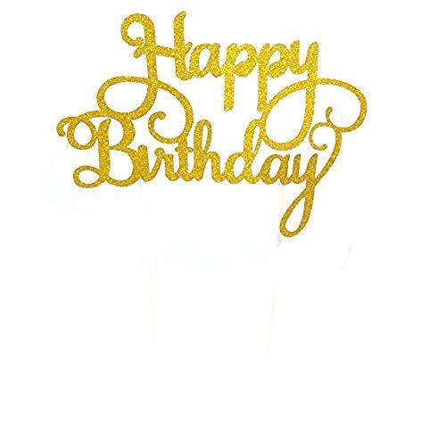 lber Papier Glitzer Kuchen Topper Happy Birthday Cake Topper Party Supplies Geburtstag Party Dekoration Kinder - Gold hapy ()