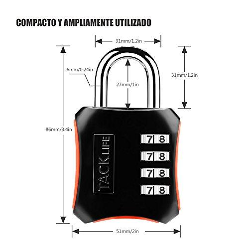 Candado de combinación,  TACKLIFE- HCL3B- 2 Packs Candado de numeración de 4 dígitos Cerraduras de equipaje Código de seguridad para maleta,  gimnasio,  taquillas escolares