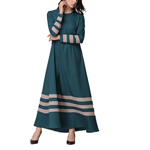 n Streifen Drucken Muslim Abaya Dubai Muslimische Kleid Arab Arabisch Indien TüRkisch Casual Abendkleid Hochzeit Kaftan Robe (L, Green) ()