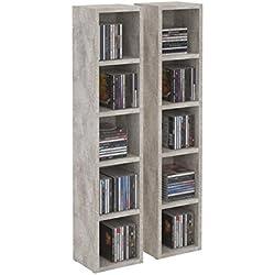 IDIMEX Etagères modulables Musique pour CD et DVD, Lot de 2 Meubles de Rangement en Colonne avec 10 Compartiments, en mélaminé décor béton
