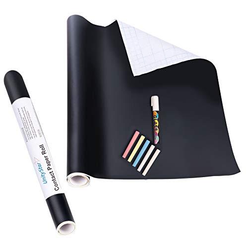 Nanxin Pellicola Lavagna Adesiva Nero,Carta Lavagna Adesiva Rimovibile/Sticker Autoadesivo Tagliabile,45x200CM