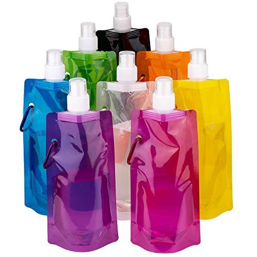 Tasche Falten (LUTER Faltbare Wasserflasche Trinkbeutel Trinkblase Mehrfarben Wiederverwendbare tragbare Falten Wasser Tasche für Outdoor-Sportarten Reiten Wandern, 8 Farben, 8 Stück)