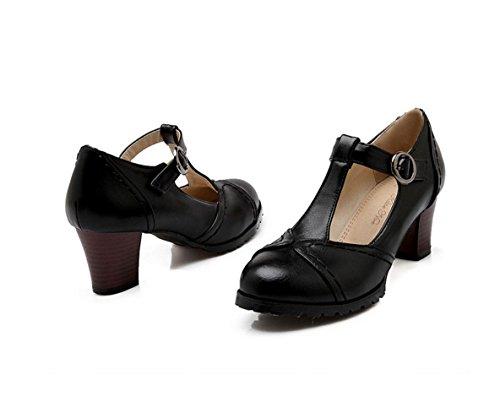 WZG Chaussures boucle épaisse avec des chaussures simples avec des chaussures casual sauvages rondes sandales d'été Black