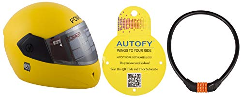 Autofy Power Full Face Helmet With Mirror Finish Visor (Matte Bright Yellow) and Autofy 4 Digits Universal Multi Purpose Steel Cable (Black and Orange) Combo