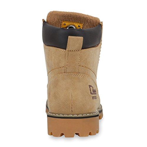 Worker Boots Herren Outdoor Schuhe Nieten Profil Sohle Hellbraun