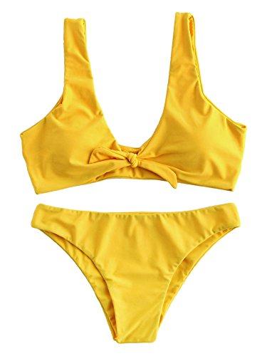 SOLYHUX Mujer Ropa de Baño Vestido de Playa Set Biquini Con Cordón En La Parte Delantera Halter, Amarillo Tamaño L
