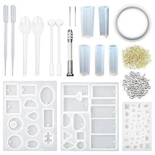 Vitasemcepli 118 Stück Silikonform mit 1 Form für 5 Formen für Anhänger aus Kunstharz 3 Form für Schmuck Gemme Cabochon 100 Schrauben 9 Kleine Werkzeuge für Creationen Schmuck