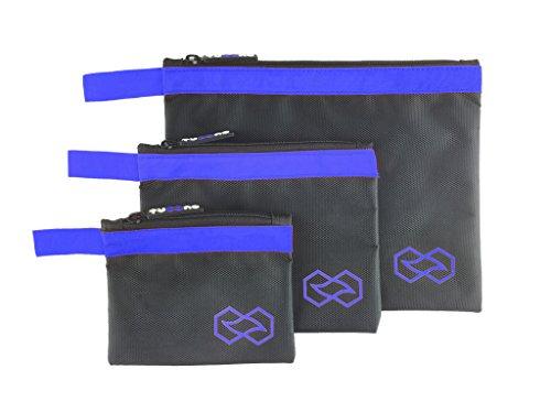 Reissverschlusstasche I Werkzeugtasche I Beutel mit Reißverschluss – praktische Organizer Tasche, wasserdicht, aus ballistischem Nylon – 3er/ 4er Sets in versch. Größen & Farben (verschiedene Grössen, blau)