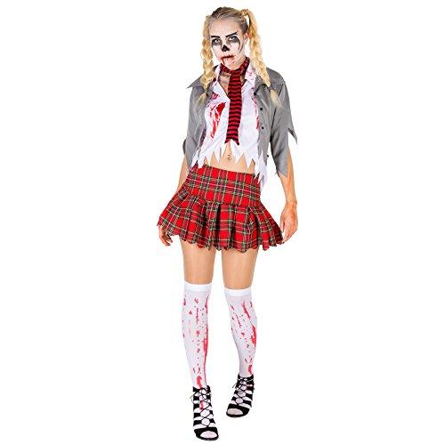 TecTake dressforfun Sexy Zombie Damen Kostüm Frauenkostüm inkl. Bluse, Rock, Strümpfe, Schal und Jacke (L | Nr. ()