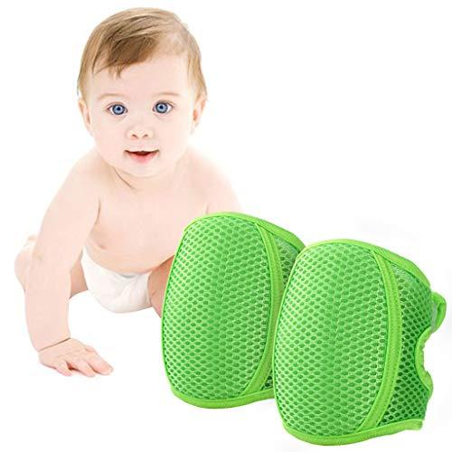 Knieschoner Baby Krabbeln, Kleinkind Knie Kriechende Schutz Anti-Rutsch Gummipunkte Verstellbarer Protektoren,Grün -