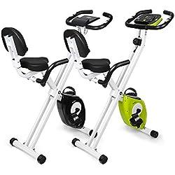 INTEY Velo Appartement Fitness Pliable, Résistance Réglable à 16 Vitesses avec Poignée à Impulsion et Écran LCD, Noir