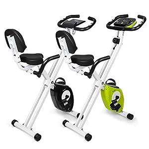 INTEY Heimtrainer Fitnessbike klappbares F-Bike mit Handpuls-Sensoren Fitness Fahrradtrainer, Schwarz/Grün