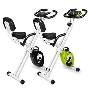 INTEY Cyclette Magnetica Fitness Bike Pieghevole, Resistenza Regolabile a 16 Velocità, Cyclette da Allenamento con Impugnatura a Impulsi e Display LCD, Nero