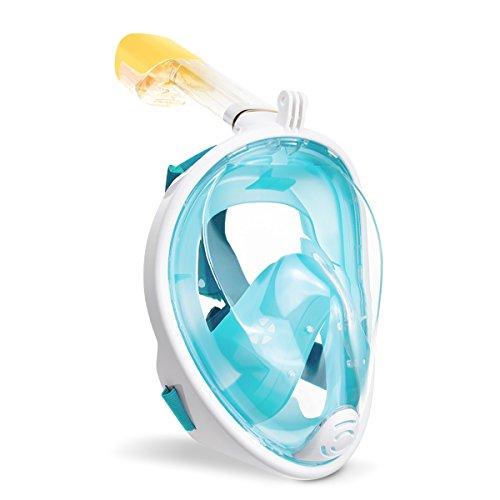 Schnorchelmaske Vollmaske, Gofun Tauchmaske Anti-Fog und Anti-Leck-Technologie mit 180 Grad Blickfeld für Erwachsene und Kinder (Grün, S/M)