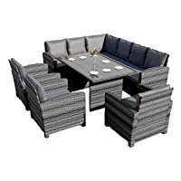 Abreo Rattan Corner Garden Sofa Arm Chair Dining Table Set Furniture Patio Conservatory Black Brown Grey (Dark Mix Grey with Dark Cushions)