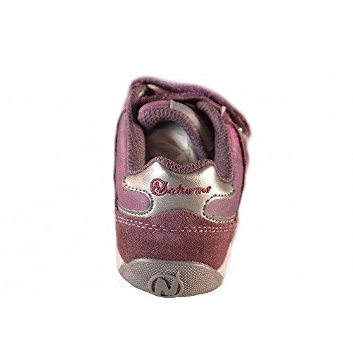 Naturino - Naturino Scarpe Bambina Vinaccia Acciaio Strappi Velcro Pelle Velluto Sport 370 Viola