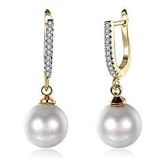 Idea Regalo - Oro 14K pendenti perla e zirconia cubica, con borchie diamantate Dainty piccoli orecchini a cerchio per le donne damigella cristallo ipoallergenico post Nice Gift e base metal, cod. E050