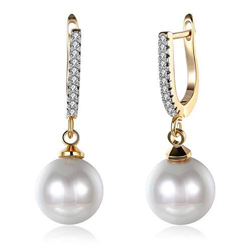 Oro 14 K pendenti perla e zirconia cubica d2db59d8aafa