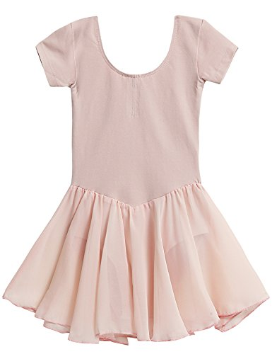 Qenci Kinder Mädchen Klassisches Ballerina Kleid Kinderkostüm Tutu Ballettkleid Trikot Kleid Kurzarm Rosa Schwarz Weiß Lila Blau Gr. 110-160 (Rosa Schwarz Tutu Und)