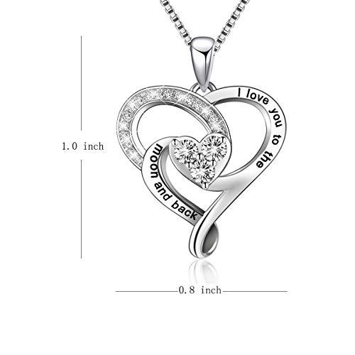 """Herzanhänger-Halskette aus Sterlingsilber und Gravur """"I love you to the moon and back"""", mit Box, Kettenlänge 45,7cm"""