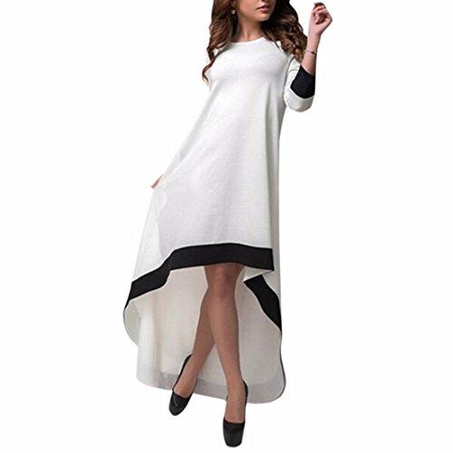 QIYUN.Z Art Und Weise Weiß 3/4 Ärmel Großen Unregelmäßigen Saum Kleider Frauen Beiläufige Lange Kleid Weiß